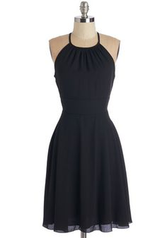 Find the Fun Dress - Black, Solid, Girls Night Out, LBD, A-line, Racerback, Fall, Woven, Mid-length, Cutout