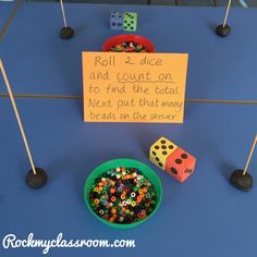 Activity set up for parents morning - trying to encourage children to count on to find the total of 2 dice - EYFS numeracy. Counting Activities Eyfs, Maths Eyfs, Morning Activities, Preschool Math, Montessori Math, Kindergarten Math, Math Games, Eyfs Classroom, Measurement Activities
