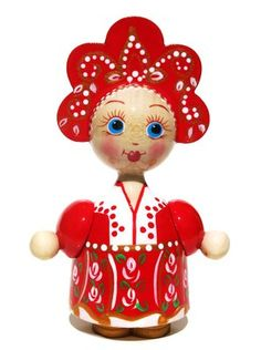 Katyusha Russian Wooden Doll in Red Costume