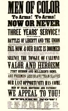 Aimed at African American men during the American Civil War.