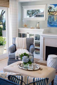 cozy coastal living room | Debra Lynn Henno Design. Curtains. #coastallivingroomscurtains