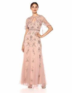 59de75a393e Adrianna Papell Women s Long Beaded Godet Mermaid Skirt Dress  fashion   clothing  shoes
