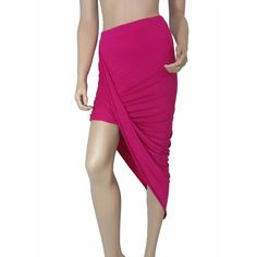 Pink Asymmetrical Draped Skirt #008-HPM Stretchy fabric that is higher on one side and drapes across. 95% rayon 5% spandex. Skirts