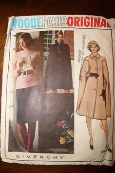 Vintage 70s Givenchy Sewing Pattern Cape ALine Skirt by easagredo, $19.99