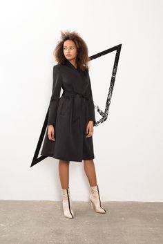 IMRECZEOVA SS18 black scuba coat wit quilted belt 60 Degrees, Belt, Black, Belts, Waist Belts, Black People
