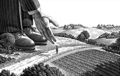 "Michael Halbert: Scratchboard illustration of a giant businessman shaking hands with a normal sized farmer. Used as a two-page spread advertisement in a trade magazine. The idea was to show that the client was ""A Giant in His Field."""