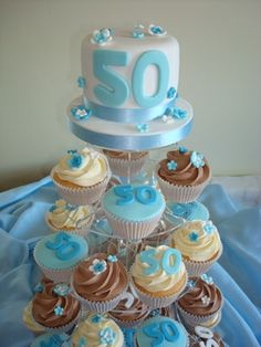 50th cupcakes - baby blue