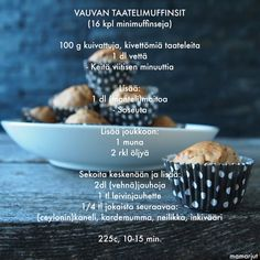 Taatelikakku kohtaa piparkakun! Minimuffinseja pienille  sormiruokailijoille. Nämä ovat (ainakin vehnäjauhoista tehtyinä) mukavan  pehmoisia.  NÄITÄ TARVITSET: 100 g kuivattuja, kivettömiä taateleita 1 dl vettä 1 dl  (manteli)maitoa 1 muna 2 rkl (rypsi)öljyä 2 dl (vehnä)jauhoja 1 tl  leivinja