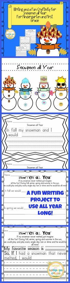 Writing and Fun Craftivity for Snowmen all Year for K-1. After reading the Story Snowmen all Year by Caralyn Buchner. Have children think about some ideas that they would do if their snowman lasted all year long and never melted...the more creative the better. Encourage children to think of what they might do each season. This is a GREAT writing activity that your kinders and firsties WILL LOVE!