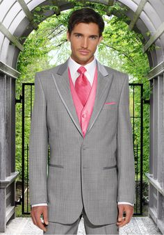 grey tux with pink vest --- This suit would be great with other colors as well.