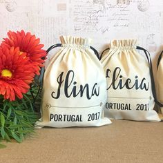 Personalized Gift Bag - Party Favors, Bridal Shower, Bridesmaid, Wedding, Birthday, Travel, Bachelorette, Thank you-Drawstring Cotton Pouch by SpanishVelvet on Etsy