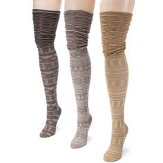 3-Pack Microfiber Over the Knee Socks Brown Socks One Size ($29) ❤ liked on Polyvore featuring intimates, hosiery, socks, brown, brown over the knee socks, muk luks socks, fancy socks, overknee socks and brown socks