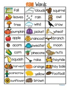 ***FREE*** instant download of 32 FALL words and pictures vocabulary - for development and practice of sight reading, story ideas, picture/word linking, and other literacy activities.