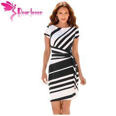 Dear Lover work dresses women 2017 Autumn Pencil Red Black Navy White Stripe  Knot d8c1dbe39763
