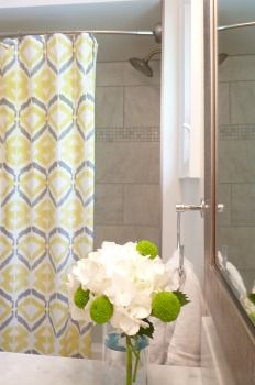 Main Bath, marble, tiled shower, west elm curtain, apple green, button mums, lime green, hydrangea West Elm Curtains, Green Hydrangea, Green Button, Apartment Therapy, Claire, Mothers, Marble, Bath, Shower