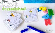 Cartas com cruzadinhas para alfabetização. Tem arquivo PDF com as cartas para esta atividade disponível na nossa loja. É enviado por e-mail. :)
