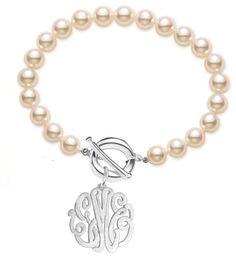 Beautiful monogram and pearl bracelet
