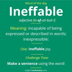 ineffable: Meaning, Use and Examples Advanced English Vocabulary, English Vocabulary Words, English Idioms, English Phrases, English Lessons, English Writing Skills, Interesting English Words, Unusual Words, Weird Words