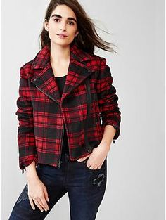 Festive plaid wool moto jacket from #Gap. Could this jacket be more perfect for the holidays?