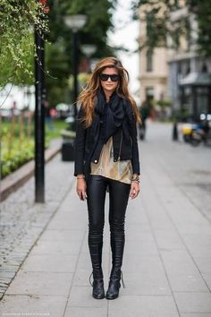 Leather boots, leather pants, black jacket.