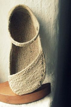 rope soled shoe before the hemp fabric upper - Rope into shoes