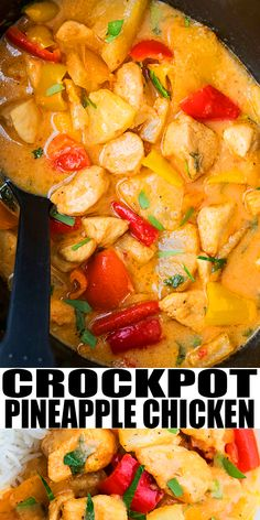 SLOW COOKER PINEAPPLE CHICKEN RECIPE- Easy crockpot Hawaiian chicken, homemade with simple ingredients. Tender chicken pieces are coated in a sweet and spicy and sticky pineapple sauce. Crockpot Pineapple Chicken, Crockpot Chicken Healthy, Slow Cooker Chicken, Healthy Chicken Recipes, Recipe Chicken, Hawaiian Chicken Slow Cooker, Meal Recipes, Yummy Recipes, Slow Cooker Huhn