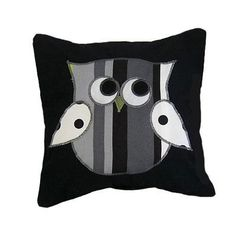 square pillow with owl design to accentuate the licorice crib bedding set by sweet kyla