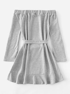 Shop Off Shoulder Self Tie Waist Dress online. ROMWE offers Off Shoulder Self Tie Waist Dress & more to fit your fashionable needs. Girls Fashion Clothes, Teen Fashion Outfits, Outfits For Teens, Girl Fashion, Girl Outfits, Fashion Dresses, Cute Casual Outfits, Pretty Outfits, Stylish Outfits