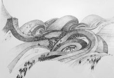 Rebel Architect: 15 Surreal Sketches Encapsulate the Utopian Visions of Claude Parent - Architizer Architecture Drawings, Architecture Design, Composition Drawing, Ludwig Mies Van Der Rohe, Claude, Drawing Sketches, Sketching, Weekend Is Over, Surrealism