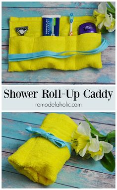 Super simple DIY shower roll-up caddy. Perfect for traveling and for gift giving. Learn how to make this cute caddy featured on @remodelaholic