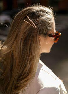 White linen-blend blazer with gold button front, white sheath dress with scallop. - White linen-blend blazer with gold button front, white sheath dress with scallop lace detail, white - Pulled Back Hairstyles, Pretty Hairstyles, Wavy Hairstyles, Wedding Hairstyles, Hair Pulled Back, Korean Hairstyles, Bobby Pin Hairstyles, Hairstyles 2018, School Hairstyles