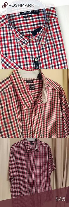 Men's Chaps Short Sleeve Button Down Red, blue & white small plaid, short sleeve, button down shirt by Chaps. Big & Tall line.Worn once (maybe, he can't remember ever wearing it...) & professionally cleaned. Practically new. Chaps Shirts Casual Button Down Shirts