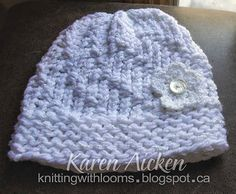 A spiral knit hat, using the green Knifty Knitter loom. knittingwithlooms.blogspot.ca