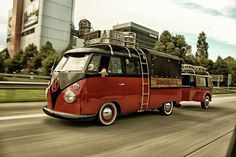 Check this one out! Cherry red on black #vintage VW Bus with super cute matching #trailer! Love it! #retro