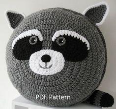 My cheeky Raccoon Cushion PDF Crochet Pattern // A Pillow