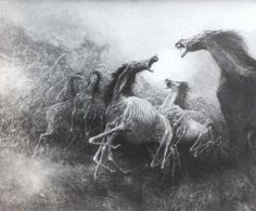 Artist Zdzislaw Beksinski. these horses look like the ones that appeared in one of my nightmares! although i think they are pretty cool!