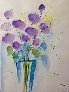 Aquarell lila Blumen in der Vase Blumen