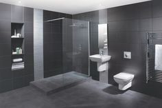 Wet Room Design Ideas – If you are thinking about ways to spruce up your interior, then you should look into wet rooms. What is a wet room, you ask? Simple: it's a new approach to bathroom design in which there is no tub, shower screen, or tray. Wet Room Bathroom, Fitted Bathroom, Grey Bathrooms, Bathroom Interior, Master Bathroom, Grey Slate Bathroom, Basement Bathroom, Bad Inspiration, Bathroom Inspiration