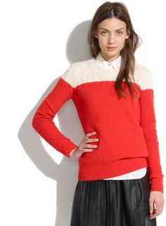 3366996f05d Women s Red Colorblock Cable-knit Sweater