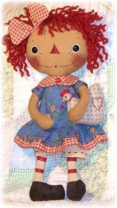 primitive doll pattern Rag Doll sewing Pattern PDF by OhSewDollin Primitive Doll Patterns, Doll Sewing Patterns, Doll Clothes Patterns, Primitive Crafts, Fabric Dolls, Paper Dolls, Rag Dolls, Ann Doll, Raggedy Ann And Andy