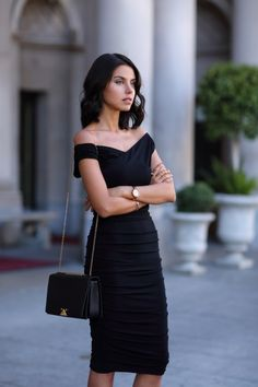 EXPRESS_black_surplice_wrap_ruched_jersey_midi_dress_black