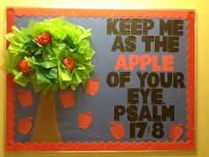 Would make a cute craft idea too. Use different colored apples (red, yellow, green). Could use as a counting tool. Apple Bulletin Boards, Catholic Bulletin Boards, September Bulletin Boards, Christian Bulletin Boards, Summer Bulletin Boards, Back To School Bulletin Boards, Apple Classroom, Sunday School Classroom, Classroom Bulletin Boards