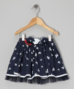 Take a look at this Navy Bow Rosette Skirt - Toddler & Girls by Designer Kidz on #zulily today!