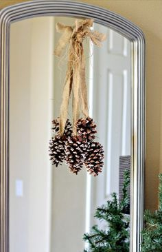 2013 Christmas Home Tour,Outdoor Christmas pinecones decoration