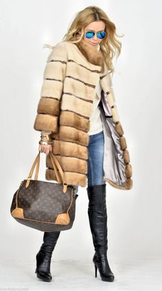 mink furs - multicolor saga mink fur coat