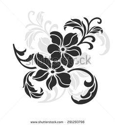 flower design sketch for pattern,lace edge,flower motif
