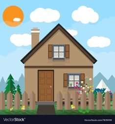 Brown wooden house and garden with flowers vector image on VectorStock House Clipart, Ecommerce Web Design, Summer Backgrounds, House Illustration, Borders For Paper, Forest House, White Clouds, Wooden House, Volcanoes