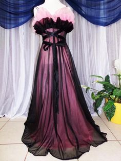 SOLD -Vtg.XS,S.Rare Two-tone Vanity Fair,black/pink chiffon vintage nightgown ruffles #VanityFair