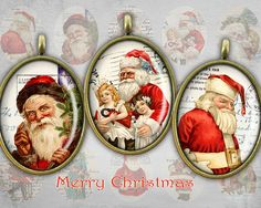 Digital Christmas Ovals on Digital collage sheet Printable downloads 30x40mm Ovals - Best for Jewelry Pendants - SANTA CLAUS