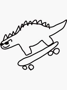 """Dino Skateboarding"" Sticker by no-doubt Kritzelei Tattoo, Doodle Tattoo, Doodle Art, Mini Tattoos, Cute Tattoos, Small Tattoos, Tatoos, Stick N Poke Tattoo, Stick And Poke"